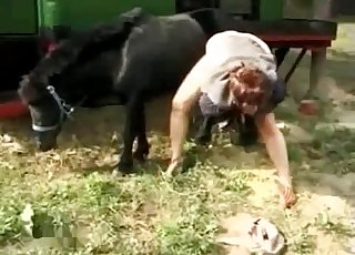 Sexy black pony fucking her wet cunt